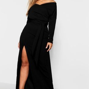 Plus Off-Shoulder Wrap Dress